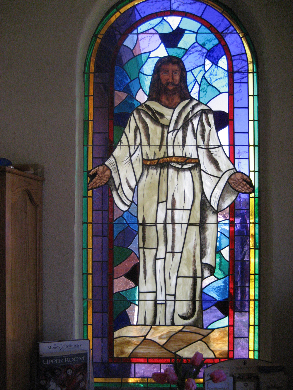 Stained Glass Window Of Jesus Christ At The First United Methodist Church In Bronte, Texas