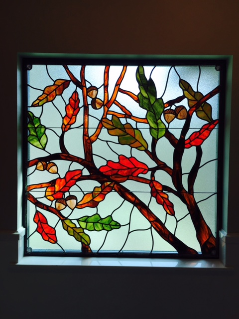 Oak Leaves in Stained Glass